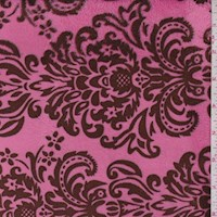 Hot Pink/Brown Damask Print Minky