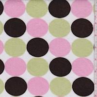 Brown/Pink/Sage Polka Dot Print Minky