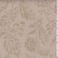 Taupe/Olive Floral Print Linen Canvas