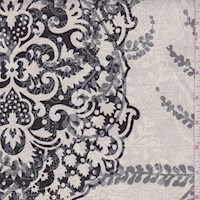 Oatmeal Grey Baroque Scroll Print Linen Canvas
