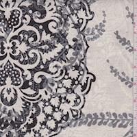 Oatmeal Grey Baroque Scroll Print Linen Canvas