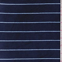 Navy/Sky Stripe Velour Knit