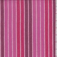 *5 5/8 YD PC--Rose/Berry Leno Stripe Cotton Lawn