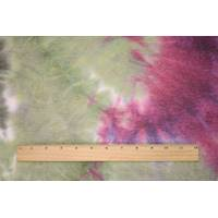 *1 1/4 YD PC--Wine/Olive/White Tie Dye French Terry Knit