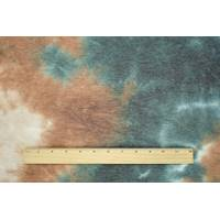 *3/4 YD PC--Teal/Tobacco/Taupe Tie Dye French Terry Knit
