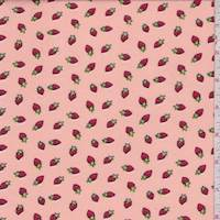 *7 1/2 YD PC--Pale Peach Mini Strawberry Double Brushed Jersey Knit