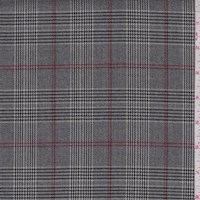 *2 1/4 YD PC--Black/Wine Glen Plaid Suiting