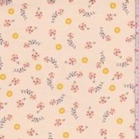 """*2 5/8 YD PC--Champagne """"Twirl"""" Print Cotton"""