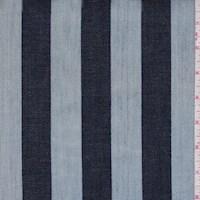 *1 YD PC--Light Blue/Navy Stripe Denim
