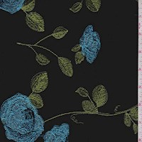*7 YD PC--Midnight Embroidered Floral Velvet Knit