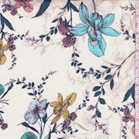 *2 3/4 YD PC--Off White Garden Floral Silk Chiffon
