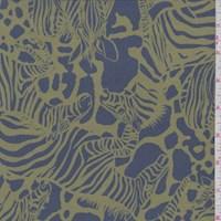 *5 YD PC--Slate Blue/Avocado Zebra Herd Silk Crepe de Chine