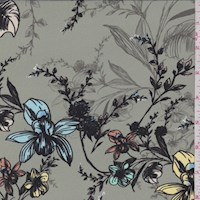*2 YD PC--Sage Floral Garden Silk Satin Charmeuse