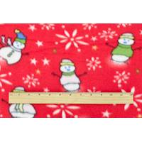 *2 YD PC--Red/White/Multi Snowman Printed Fleece