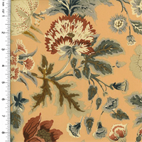 *1 YD PC--Designer Cotton Peach/Multi Floral Print Decorating Fabric