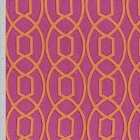 *1 YD PC--Fuchsia/Orange Imperial Trellis Jacquard  Decor Fabric