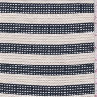 *3 1/2 YD PC--Cream/Navy Stripe Mesh Knit