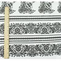 *1 1/4 YD PC--Black/White Silk Garden Floral Print Chiffon