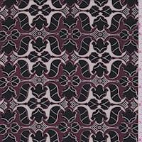 *2 YD PC--Burgundy/Black Mini Baroque Print Silk Chiffon