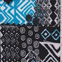 *1 YD PC--Black/Aqua/White Geo Scuba Knit