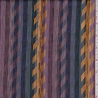 *1 3/4 YD PC--Plum/Marigold/Spruce Abstract Herringbone Satin Stripe Silk Chiffon