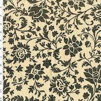 *3 YD PC--Beige/Charcoal Floral Printed Linen Blend Decorating Fabric