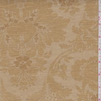 Antique Gold Floral Scroll Linen Canvas