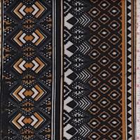 Black/Gold Tribal Stripe Scuba Knit