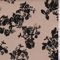 Golden Beige/Black Flocked Floral Scuba Knit