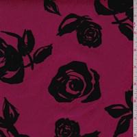 Mulberry/Black Flocked Floral Scuba Knit