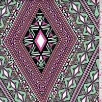 Mint/Fuchsia Deco Diamond Scuba Knit