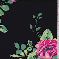 Black/Pink Floral Bloom Scuba Knit