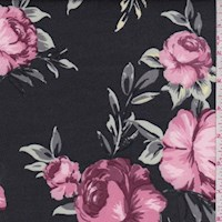 Dusty Black/Mauve Floral Scuba Knit