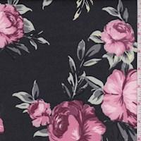 Dusty Black/Mauve Floral Scuba Knit