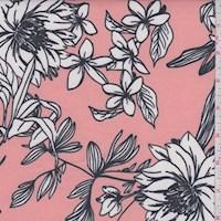 Peach/White Sketch Floral Scuba Knit