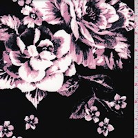 Black/Mauve Floral Bloom Scuba Knit