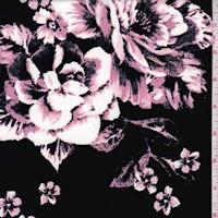 Black/Mauve Floral Bloom Scuba Knit