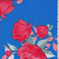 Ocean Blue/Red Rose Scuba Knit