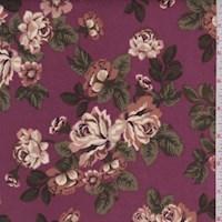 Pale Plum/Beige Floral Cluster Scuba Knit