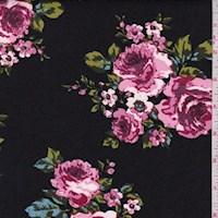 Black/Orchid Pink Floral Scuba Knit
