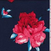 Navy/Crimson Peony Scuba Knit