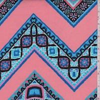 Salmon Pink/Aqua Zig Zag Scuba Knit