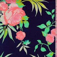 Navy/Lime/Coral Tropical Floral Scuba Knit