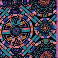 Aqua/Pink Multi Mosaic Medallion Scuba Knit