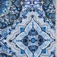 Periwinkle/Royal Medallion Tile Scuba Knit