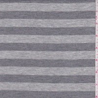 Heather Grey Stripe Rayon Jersey Knit