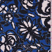 Bright Cobalt Floral ITY Jersey Knit