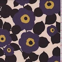 Parchment/Plum Mod Floral ITY Jersey Knit