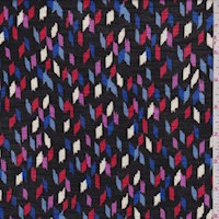 Black/Blue/Red Confetti Rayon Jersey Knit