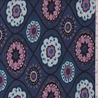 Blue/Rose Medallion Lattice Rayon Jersey Knit